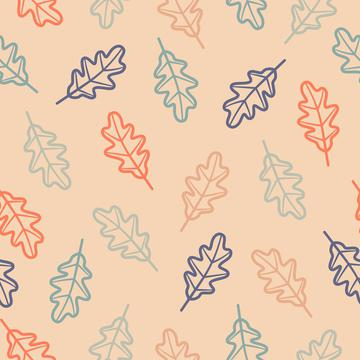 Oak Leaves Outline On Peach Background Autumn Fall Seamless Pattern