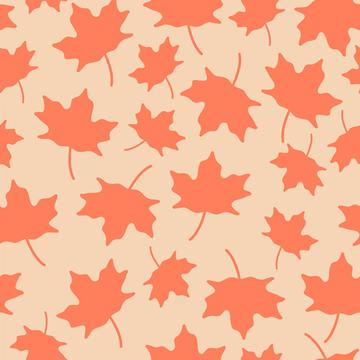 Maple Leaves Silhouette On Peach Background Autumn Fall Seamless Pattern