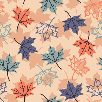 Maple Leaves On Peach Background Autumn Fall Seamless Pattern