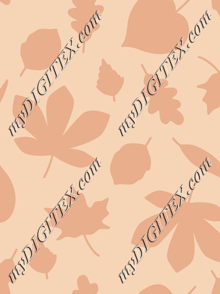 Autumn Leaves Silhouette On Peach Background Fall Seamless Pattern
