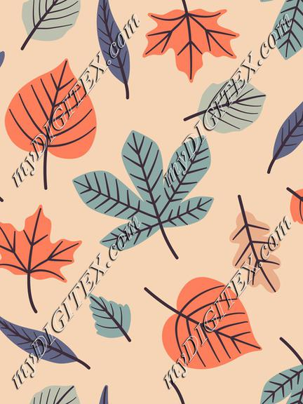 Pastel Autumn Leaves On Peach Background Fall Seamless Pattern