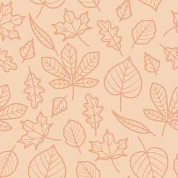 Autumn Leaves Outline On Peach Background Autumn Fall Seamless Pattern