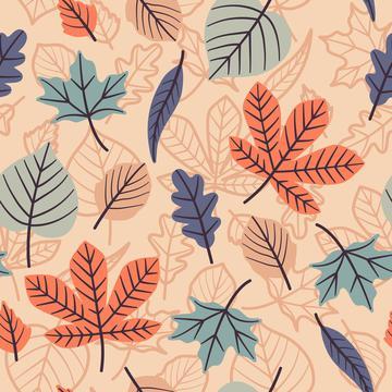 Pastel Autumn Leaves On Peach Background Autumn Fall Seamless Pattern