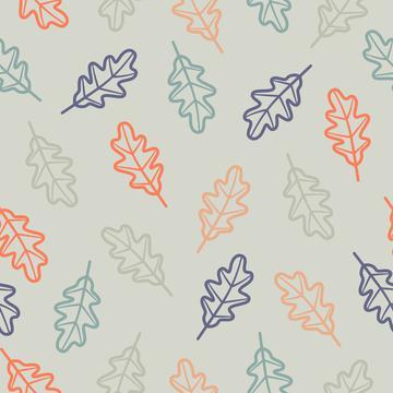 Oak leaves light blue outline