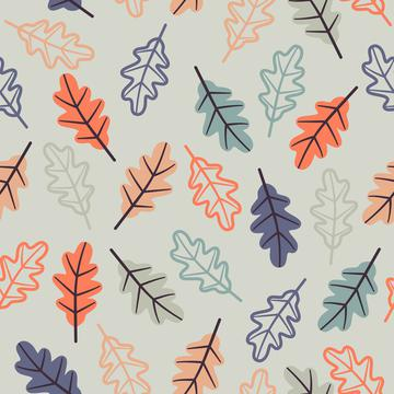 Oak leaves light blue silhouette+fill