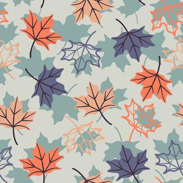 Maple leaves light blue silhouette+fill