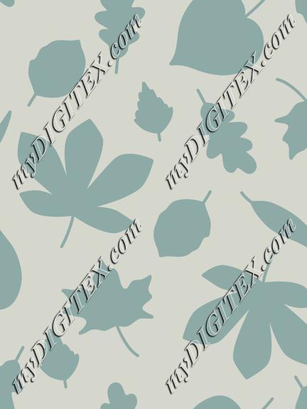 Autumn leaves light blue silhouette