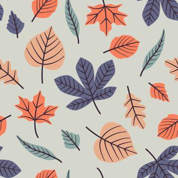 Autumn leaves light blue