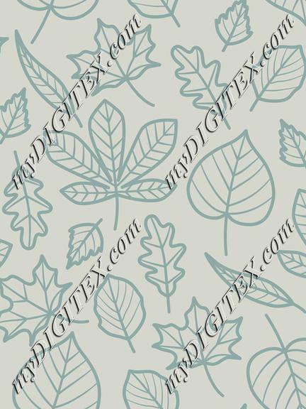 Autumn leaves light blue outline
