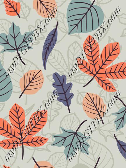 Autumn leaves light blue outline+fill