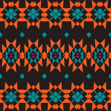 Tribal shapes rows on a black background