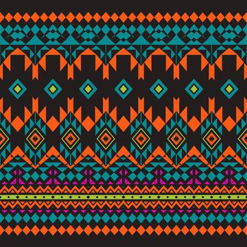 Tribal shapes on a black background