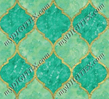 Turquoise & Faux Gold Quatrefoil