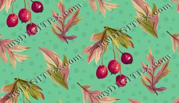 Autumn Splendour - Leaves and Berries - Aqua
