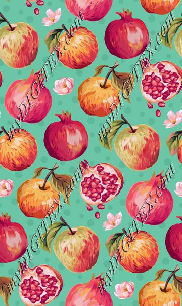 Autumn Splendour - Apples & Pomegranates - Aqua