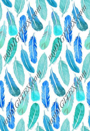 Watercolour Feather Drop - Aqua