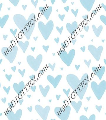 Watercolor Heart Scatter - Baby Blue