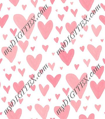 Watercolor Heart Scatter - Baby Pink