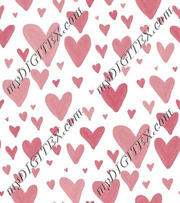 Watercolor Heart Scatter - Dark Pink