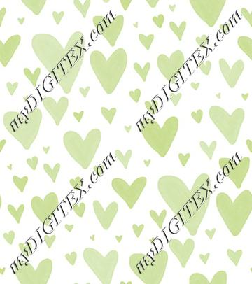 Watercolor Heart Scatter - Green