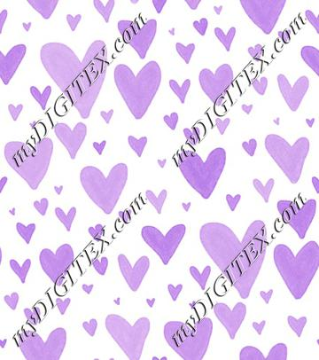 Watercolor Heart Scatter - Purple