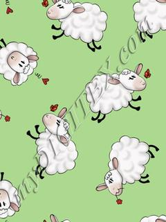 Ditsy Sheep - Green