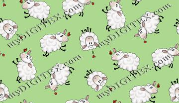 Ditsy Sheep - Green