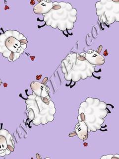 Ditsy Sheep - Purple