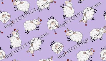 Ditsy Sheep - Purple