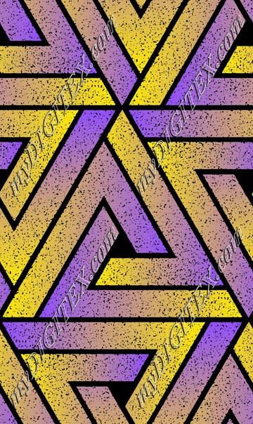 Grunge Triangle Geometric - Purple Yellow
