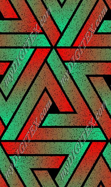 Grunge Triangle Geometric - Red Teal