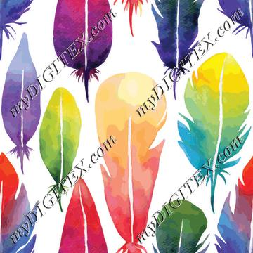 Watercolor feather pattern
