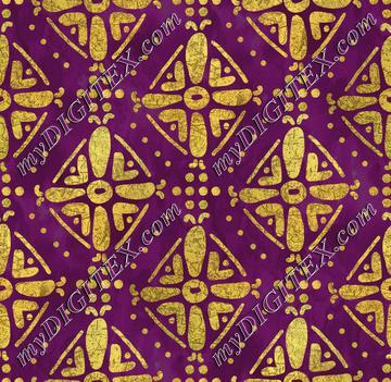 Handrawn Ethnic Diamond - Amethyst & Faux Gold
