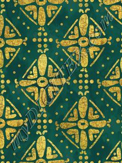 Handrawn Ethnic Diamond - Forest & Faux Gold