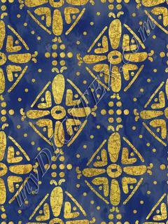 Handrawn Ethnic Diamond - Navy & Faux Gold