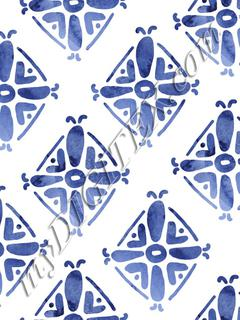 Handrawn Ethnic Diamond - Simple Blue