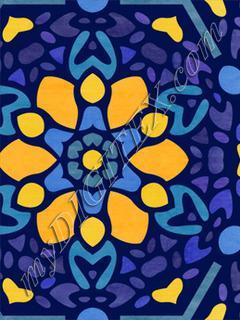 Majolica Floral Hex - Golden / Purple