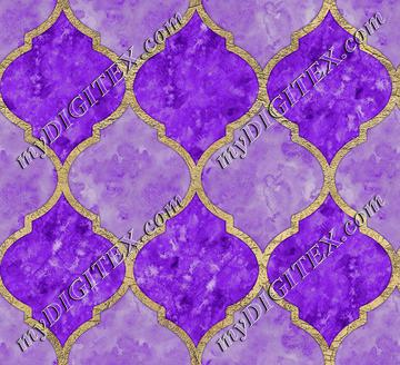 Purple & Faux Gold Quatrefoil