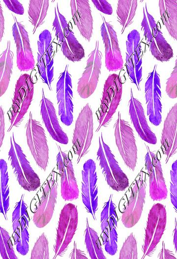 Watercolour Feather Drop - Purple