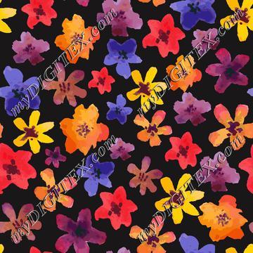 Watercolor flowers on black