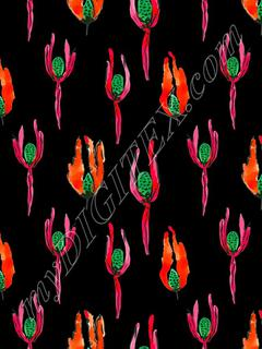 Fuchsia Flower - Black