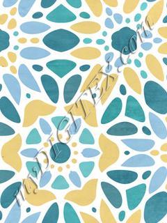 Majolica Floral Mosaic - Mustard & Teal