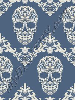Skull Damask (blue)