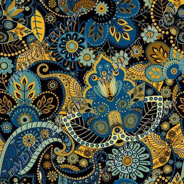 Blue Ethnic Paisley