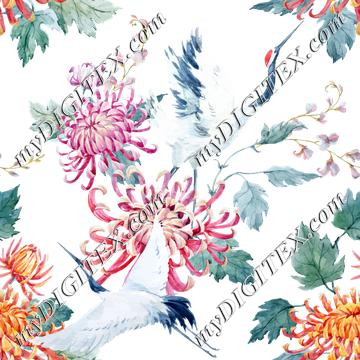 Floral Cranes (on white)