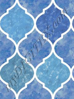 Blue & White Marbled Quatrefoil