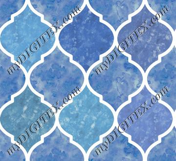 Blue & White Marbled Quatrefoil