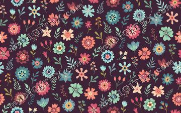 Vintage Floral Scatter - Maroon
