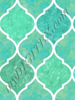 Turquoise & White Marbled Quatrefoil