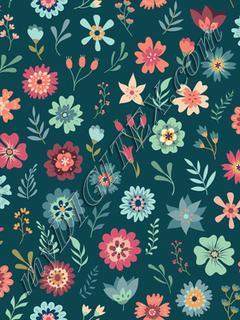 Vintage Floral Scatter - Teal